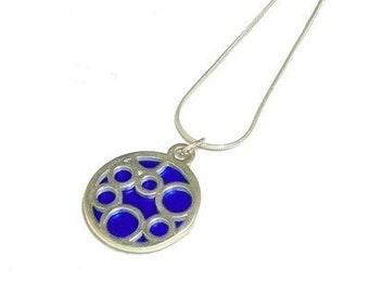 Small Round Blue Bubble pendant