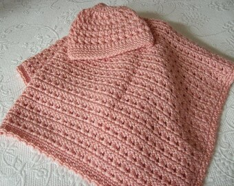 Crocheted Baby Blanket and Cap in Peach