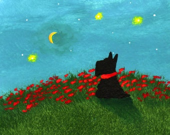 Scottie Scotty Scottish Terrier Dog PRINT Todd Young painting CRESCENT MOON