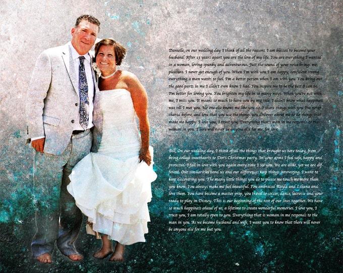 Custom Personalized Wedding Vows Song Lyrics Photo Gift Canvas 12x16