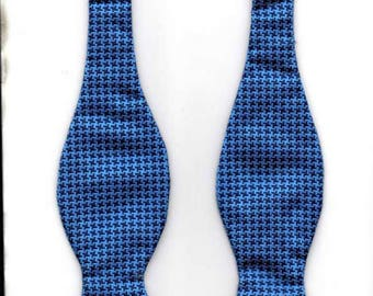 Moodys 100% Woven Silk Self Tie Bow Tie HOUNDSTOOTH Very Dark Blue/Blue UK Made