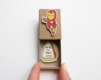 "Love card/ Funny Boyfriend Card/ Funny Love Gift Card/ Iron man Card/ ""You are my Iron Man"" Matchbox/ LV032"