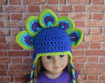 18 inch Doll Clothes - Crocheted Beanie with Ear Flaps - Peacock - Pretty Bird - MADE TO ORDER - fit American Girl