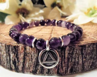 Recovery Sobriety Bracelet Jewelry - AA, Alcoholics Anonymous, Beaded Stretch Charm Bracelet, Sober Gifts, Dogtooth Amethyst