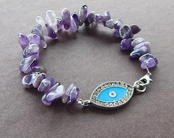 Evil Eye Amethyst Gemstone Bracelet, February Birthday, Protection Chakra Bracelet, Yoga Bracelet, Amethyst Fancy Teardrop Nuggets