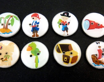 """8 Pirate Buttons.    Sewing Buttons.   3/4"""" or 20 mm.Pirates, Parrot, Treasure Map, Treasure Chest, Island and More!"""