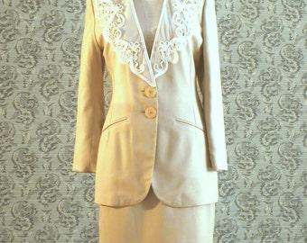 Crepe Beige Suit, Spring Suit, CHARTER CLUB Suit, Women's Suit, Elegant Suit, Unique Suit, Classic Siut, Vintage Clothing, Suit for Women
