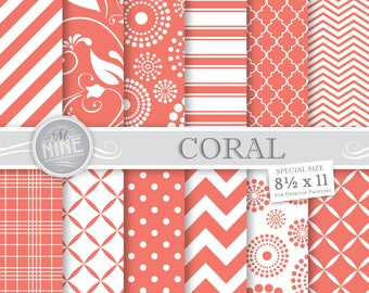 CORAL Digital Paper / Coral Printable Patterns / Patterns Downloads, 8 1/2 x 11 Coral Patterns, Digital Scrapbook Paper