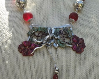 Sterling Lizard and Red Hibiscus Necklace