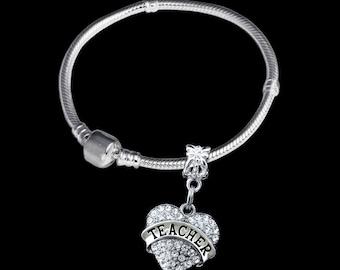Teacher bracelet teacher charm bracelet teacher gift teacher jewelry Best teacher gift