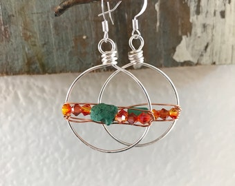 Unique Genuine Turquoise and Silver Wire Wrapped Earrings
