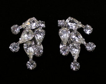 Weiss Earrings, Clear Rhinestone Climber Style, Haley's Comet Super Sparkly/Super Clean & Gorgeous! Early 1950's, Clip-Backs