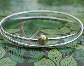 Silver Double Crossover Bangle With Gold Detail