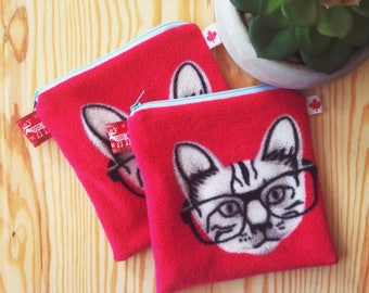 Red Nerd Cat Zipper Pouch // Red Cat Cosmetic Bag // Gift for teens // Gift for her