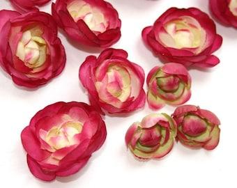15 Small Mini Fuchsia, Cream and Lime Ranunculus - silk flowers, artificial flowers  - ITEM 0173