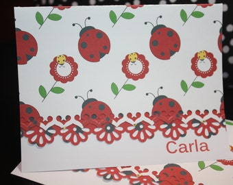 Ladybug personalized handcrafted Note Cards