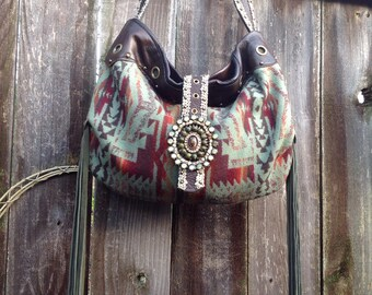 SouthWestern Leather  Handbag using Pendleton Wool & repurposed Findings
