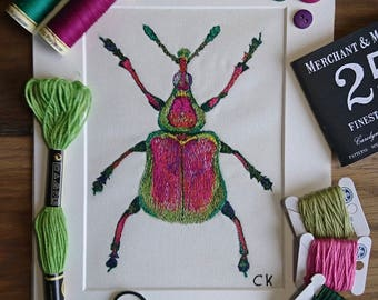 Original framed free motion embroidered textile art insect picture/Bug/Insect art/Entomology/Thread drawing/Nature/Home Decor/Pink/Green