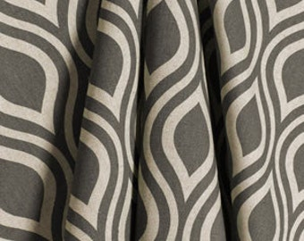 "One Pair of Custom Panels Window Panels Curtains 50""W x 84"" L, Unlined in Beautiful grey and natural arches print"