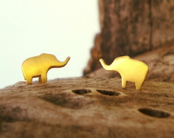 Extra Tiny Elephant Earrings Gold Elephant Studs in 14k solid Gold Animal Jewelry minimal earrings dainty studs holiday earrings fall studs