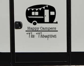 Happy campers custom / decal / camper / rv / summer / bon fire / fire / family / friend / smore