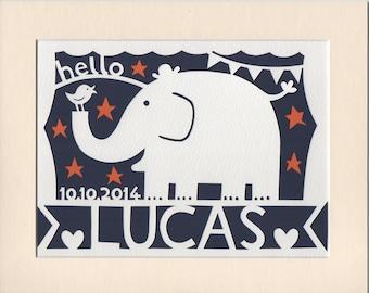Elephant Wall Art, Nursery Decor, Personalised Papercut of Elephant, New Baby Gift, Baby Name Wall Art, Nursery Decor, Kid's Room Decor