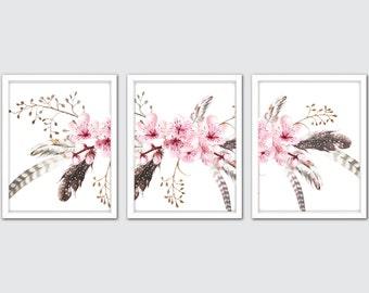 Cherry Blossom Floral Watercolor Prints, Set Of 3, Sakura Wall Art, Flower Girl Gift, Flower Watercolor Painting, Cherry Blossom Print