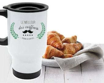 """The best of the hairdressers"" personalized travel MUG"