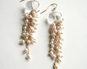 Crystal Earrings, Pearl Earrings, Long Pearl Earrings, Bridal Earrings