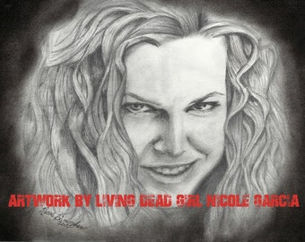 """Portrait Drawing Art Print : """"Tasty"""" - Sheri Moon Zombie - Baby Firefly - House of 1000 Corpses"""