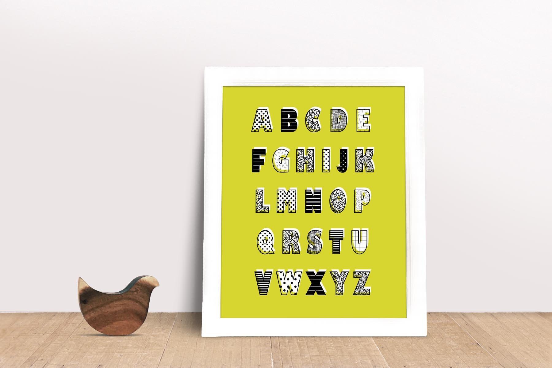 Alphabet ABC Wall Art Alphabet Poster Nursery Print Kids
