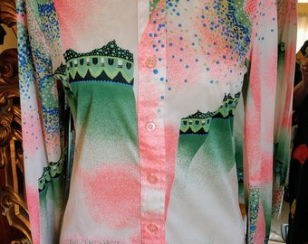 Vintage 1970's Shirtstop Graphic Polyester Disco Blouse