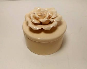 Vintage Off White Porcelain Rose Trinket Box