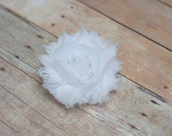 White Shabby Flower Hair Clip // White Rosette Hair Clippie // White Flower Chiffon Hair Accessory // Photo Prop //  Snow White Hair Clip