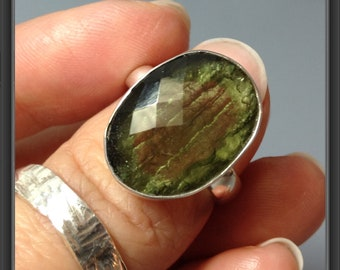 Moldavite ring US size 6.75