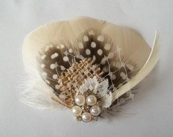 BRIDAL FASCINATOR, Bridal Veil, French Net Veil, Wedding Hair Clip, Ivory Bridal Veil, Burlap, Wedding Accessories, Boho Wedding, Rustic