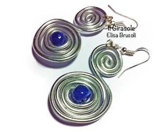 wire swirl siver aluminum earrings: wire wrapped jewelry, aluminum jewelry, silver earrings, swirl earrings, swirl jewelry,