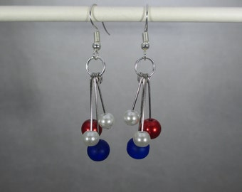 Patriotic Red, White, Blue Dangle, Beads, 4th of July, Pearls, Silver Design Earrings