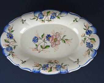 Antique small plate, flower decor, hand painted faïence