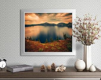 Crater Lake photo art print - sunset images - oregon scenic - fine art print - home decor - office decor - dorm decor - nature photography