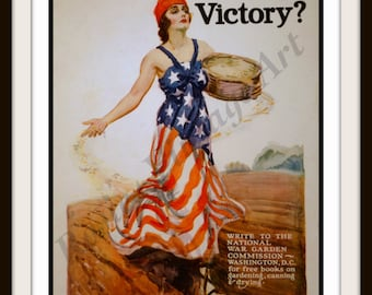 1918 WWI Patriotism - Will you have a part in Victory Garden Poster - Giclee Art Print