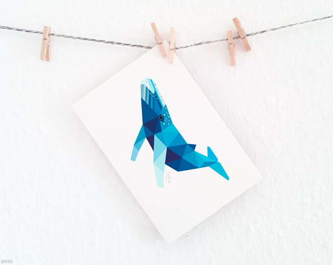 Whale print, Humpback whale, Whale illustration, Blue whale, Geometric whale, Minimal whale art, Seaside nursery theme, Ocean animals art