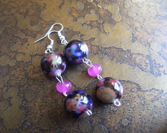 Freshly Picked Glass and Candy Jade Beaded Dangle earrings
