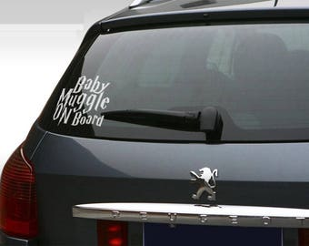 Baby on Board - Baby Muggle on Board Car Window Decal, Life saver warning in case on accident, Cool and Funny decals for cars, Drivers