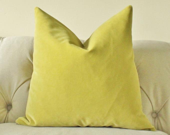 Designer Decorative Pillow Cover - Citrine Velvet Pillow Cover - Solid Lime -Throw Pillow - Citron Pillow Cover - Chartreuse Pillow Cover