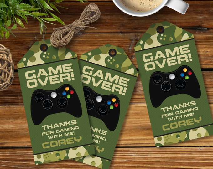 Video Game Party Favor Tag, Camo, Video Game Thank You Tag,Video Game Gift Tag,Video Game Birthday - INSTANT Download DIY Printable PDF Kit