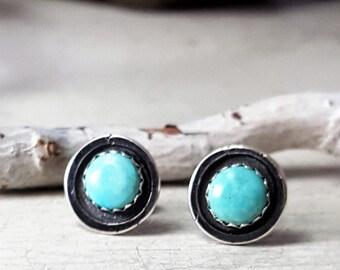 Robins Egg Blue Turquoise Stud Earrings Sterling Silver Posts 6mm Stone Turquoise Posts Turquoise Studs Turquoise Earrings Silversmith