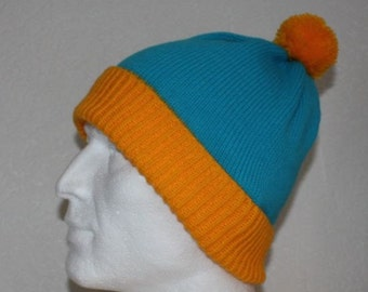 Yellow and Teal Blue Knit Cartman South Park pompom beanie hat