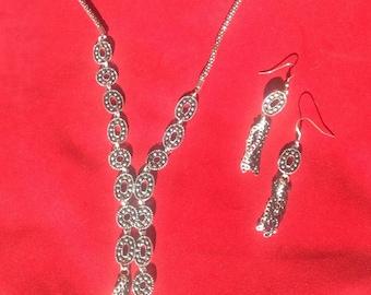 Asymmetrical Brass and Silver jewelry set
