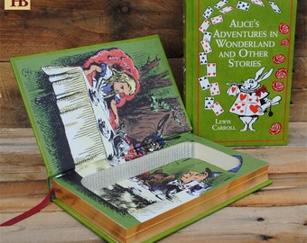 Hollow Book Safe - Alice's Adventures in Wonderland - Green Leather Bound